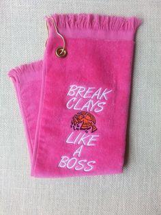 BREAK CLAYS LIKE A BOSS!! Shooter Shooting Towel Skeet Trap Sporting Clays Towel HOT PINK