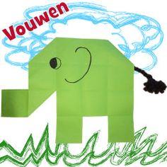 Olifant vouwen van papier met kinderen Escape The Classroom, Art Classroom, Busy Boxes, Kindergarten, Paper, Kids, Crowns, Africa, Young Children