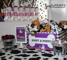 """Puppy Birthday Party theme by DimplePrints. Puppy dog stuffed animals make cute party favors that guests can """"adopt"""" as their very own pets."""