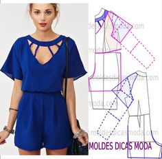 Mod@ en Line Diy Clothing, Sewing Clothes, Clothing Patterns, Dress Patterns, Sewing Patterns, Fashion Sewing, Diy Fashion, Fashion Details, Fashion Tips