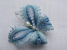 Odznaky/Brošne - Modrásek - 5107673_ Lace Jewelry, Jewelery, Bobbin Lacemaking, Types Of Lace, Bobbin Lace Patterns, Needle Tatting, Lace Heart, Point Lace, Lace Making