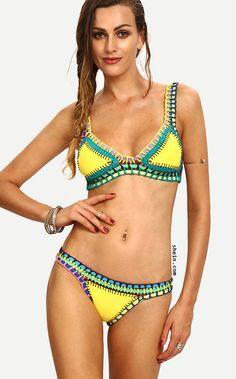 32c7c209eded Color-block Crochet Hollow Out Bikini Set Crochet Bikini, Crochet Tunic,  Crochet Tops