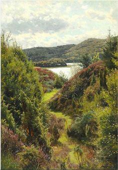 Artwork by Peder Mork Monsted, Hilly landscape near Silkeborg, Made of Oil on canvas