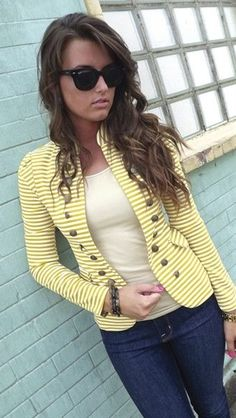 Mustard Striped Blazer - fashion | PurelyHer