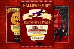 Halloween Invitations Set + Bonus by Tashal on Creative Market