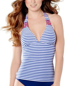 705c63b6d9a49 Another great find on #zulily! New Navy Stripe Halter Tankini Top #zulilyfinds  Tankini