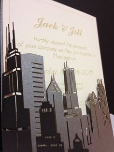 Make your special day extra memorable with these unique wedding invitations. Laser cut gate with the skyline of your choice and engraved 140# watercolor paper invitation inside. Gate comes in color of your choice, you provide the text for the invitation.   Order includes wedding gate, invitation and envelope. Completely customizable!