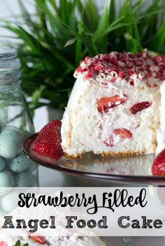 strawberry filled angel food cake cut in half and laid on a plate Strawberry Angel Food Cake, Strawberry Filling, Strawberry Recipes, Strawberry Sweets, Food Cakes, Cupcake Cakes, Bundt Cakes, Delicious Desserts, Dessert Recipes