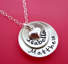 Domed Lucky Two Hand Stamped Personalized Sterling Silver Necklace for Mom