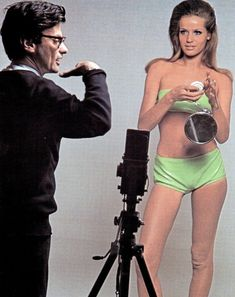 The photographer Richard Avedon and the model Veruschka, during a photo shoot for American Vogue in 1965.