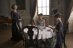 Breakfast in the morning room at Norland, a luxurious country house. Sense and Sensibility, 2008
