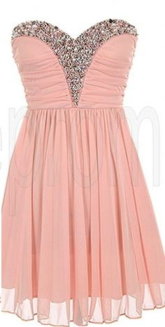 Pink Sweet Heart Chiffon Sleeveless Short Prom Dress