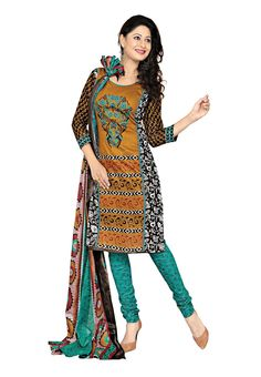 Fabdeal Indian Wear Printed Cotton Blue Printed Salwar Kameez-Unstitched for more visit @ http://indianfashionhub.wordpress.com/2014/08/23/factors-to-consider-when-you-purchase-womens-salwar-suits-online/