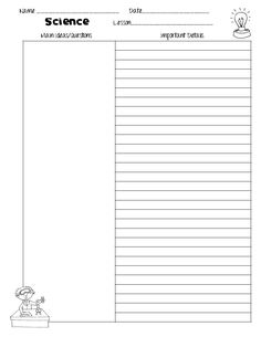 Cornell Notes Templates For Science  Freebie  Science