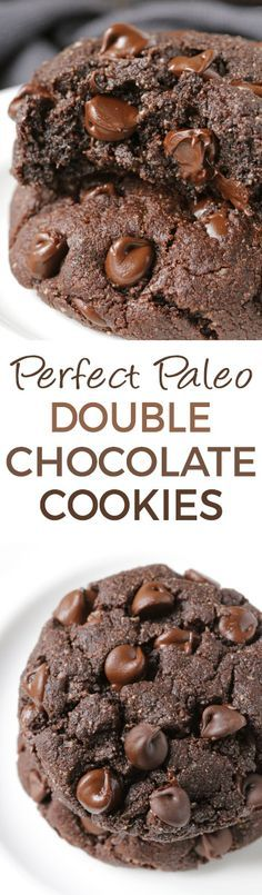 Perfect Paleo Double Chocolate Cookies – super rich, soft and chewy just like a traditional double chocolate cookie! Nobody will know these are paleo, grain-free, gluten-free, and dairy-free.