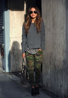 camo pants and gray layers on Sincerely Jules.