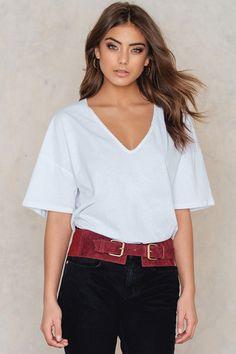 fc5bdf5a1f Plain white deep v neck t shirt half sleeve style for women Half Sleeves