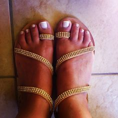 Gold crystals Handmade Clothes, Slip On, Crystals, Sandals, Gold, Shoes, Women, Fashion, Diy Clothing