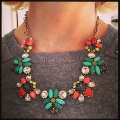 """Elodie necklace over a gray top for a """"wear now"""" look!"""