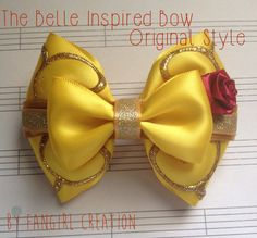 Girls Tutu Costume Belle inspired with gloves by JamsGrandmasTutus Tutus For Girls, Girls Bows, Disney Hair Bows, Diy Hair Accessories, Girl Hair Bows, Mickey Ears, Cute Bows, How To Make Bows, Beauty And The Beast