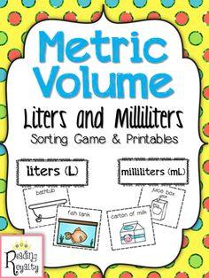 Metric Volume - Milliliter and Liter Sort Fifth Grade Math, Third Grade Science, Grade 3, Fourth Grade, Measurement Activities, Math Measurement, Math Activities, Bridges Math, 2nd Grade Worksheets