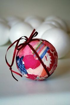 Made from scraps of fabric, this ornament would be fun for kids to help with. You can't make many mistakes!