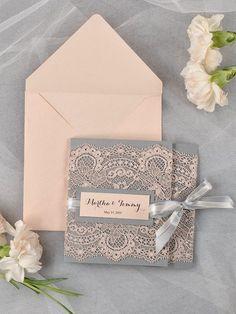 Peach lace and grey invitation