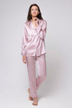 f6dcfe513d Silk pajama set Silk long pajamas Silk pyjamas Silk loungewear Pink pajamas  Silk pajama pink Gift