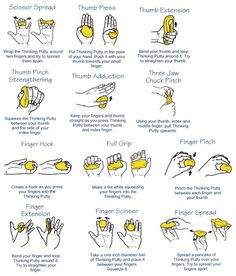Here's a diagram of recommended Carpal Tunnel exercises using the Thinking Putty, but it also applies to any kind of putty that you can put in your hand and manipulate. Of interest for those who are on the keyboard and mouse for long times. For information on thinking putty, click here: Crazy Aarons Thinking Putty *****