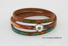 63 Armband 3fach Leder multicolor Magnetverschluss Kugel
