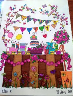Creative Haven Whimsical Gardens in crayola super tips markers, Sharpies, neon gel pens and art attack markers.