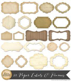 Printable Vintage Paper Labels and Frames