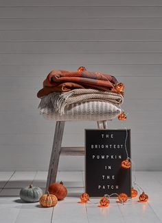 Add a bit of glowing glamour to your Halloween decorating this year with a bunch of mottled pumpkin fairy lights. The orange LED within each pumpkin glows through the mottled effect baubles creating a speckled amber shadow on its surroundings.Pair with cosy blankets and a letterboard for a truly autumnal feel.