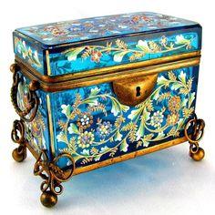 Antique Moser Bohemian Enamel Glass Box...