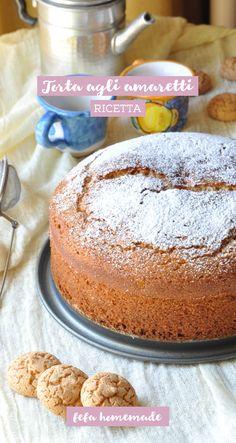 Una torta soffice resa ancora più buona dagli #amaretti sbriciolati nell'impasto. #fefahomemade Bakery Cakes, Biscotti, Almond, Goodies, Pudding, Sweets, Sugar, Chocolate, Cooking