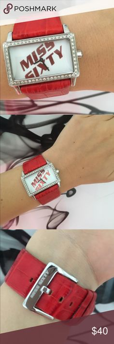 Miss Sixty watch Miss Sixty watch with genuine leather bracelet, beautiful red color. Shows some sign of usage, but nothing major, no wholes or stains, battery just changed, so its ready to wear after you purchase it. Miss Sixty Accessories Watches