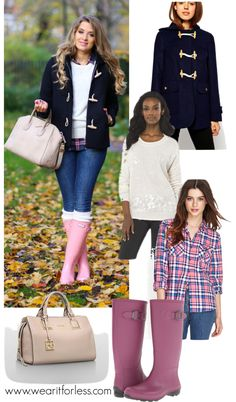 Anna Vanhanen in a navy duffle coat and pink rain boots - get the look for less!