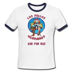 "Straight from Albuquerque's finest chicken shack and Walter White approved. You'll be cool like Heisenberg With this vintage distressed design, you'll be makin' fat stacks yo before you know it. Don't forget to ask for Gus!. This men's t-shirt has 3/8"" color-contrasting cuff on the sleeves and neckline. The fitted sleeves create a snug but comfortable fit which makes this shirt ideal for the smaller-framed male..."