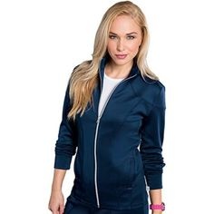 Bliss By Smitten Women's Zip Front Solid Scrub Jacket - Brought to you by Avarsha.com