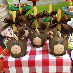 Fazendinha linda para o Benício ️️!!! . Doce: Maçãs Decoradas . Buffet e Decoração: @mundomagicobuffet ... Country Western Parties, Eid Crafts, Farm Animal Birthday, Festa Toy Story, Farm Party, Candy Apples, Birthday Decorations, Party Themes, Birthday Parties