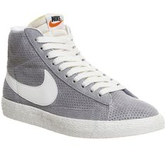 Nike Blazer Mid ($105) ❤ liked on Polyvore featuring shoes, sneakers, trainers, unisex sports, wolf grey sail laser orange, nike shoes, nike sneakers, gray sneakers, nike footwear and grey leather sneakers
