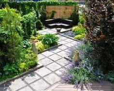 trittsteine gartenweg-gestalten geometrisches-design vorgarten, Garten dekoo
