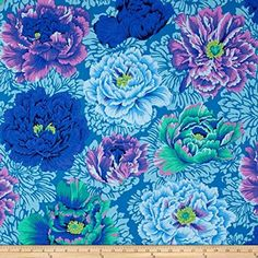 Kaffe Fassett Collective Brocade Peony Aqua Fabric By The Yard: Designed by Kaffe Fassett for Free Spirit this cotton print is perfect for quilting apparel and home decor accents. Colors include shades of blue shades of purple and shades of green. Cotton Quilting Fabric, Cotton Quilts, Shades Of Purple, Pink Purple, Periwinkle, Aqua Blue, Mint Green, Aqua Fabric, Floral Fabric