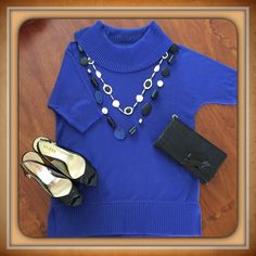 """Chico's tunic/cowl Sweater In Blue Grotto Great Tunic/Cowl Neck Sweater to wear over jeans or leggings. Nice dolman shorter sleeves for all geographic areas. 27"""" back neck seam to hem. In Chico's """"Blue Grotto"""". Chico's Sweaters Cowl & Turtlenecks"""