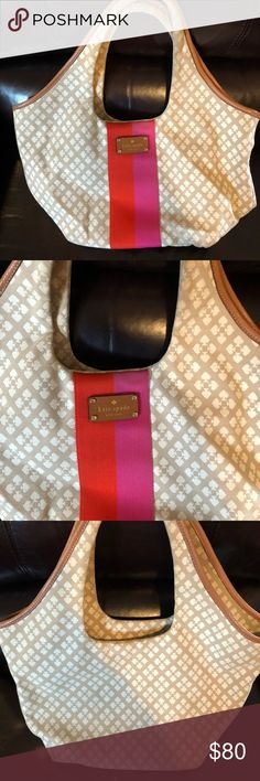 Kate Spade Summer Hobo bag Kate Spade-spade design, white, tan, pink and orange. Great for the summer. Gently used! Only one marking on the front. Inside has pockets for phone etc kate spade Bags Hobos
