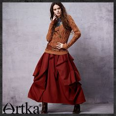 Artka® Women's Askar Bohemia Series / Spring 2015 New Retro Classic Irregular Big Swing Skirt QA14153Q Retail Price:£140.00 Promotion Price / GBP £81.00 Visit Our Ebid Store : http://pierrette-new-store2.ebid.net/
