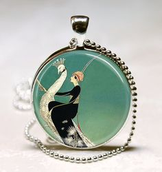 Art Deco Jewelry Woman on White Peacock Emerald Green Peacock Necklace Glass Dome Art Pendant with Ball Chain Included (ITEM B047)
