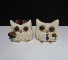 Custom Bride and Groom Wedding Owls Cake Toppers by TNZsculptures, $60.00