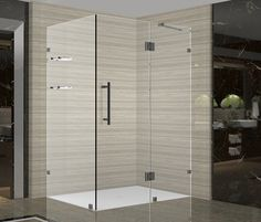 Aston Avalux GS 48 in. x 36 in. x 72 in. Completely Frameless Shower Enclosure with Glass Shelves in Oil Rubbed Bronze at The Home Depot - Mobile Frameless Shower Enclosures, Frameless Shower Doors, Bathtub Doors, Bathtub Shower, Glass Shower, Plumbing Fixtures, Bathroom Fixtures, Bathrooms, Framed Shower Door