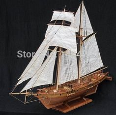 Free shipping Scale 1/96 Classics Antique wooden sail boat model kits HARVEY…